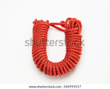 red ropes isolated on white background - stock photo