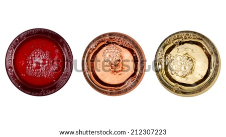 Red, rose and white wine glasses, top view - stock photo