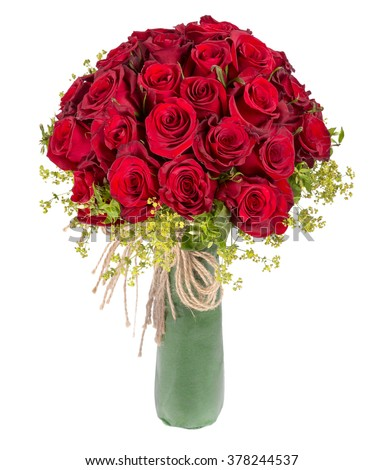red rose bouquet on white background - stock photo