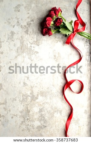 Red rose bouquet with red ribbon.Image of valentines day - stock photo