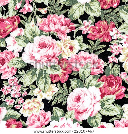Red Rose Fabric Background, Fragment of colorful retro tapestry textile pattern with floral ornament useful as background. - stock photo