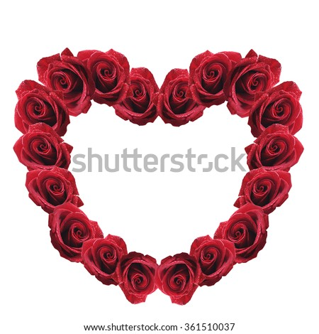 red rose heart isolated on white background - stock photo