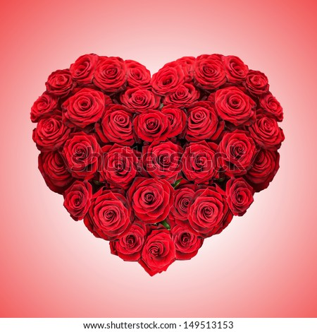 red rose heart on pink background - stock photo
