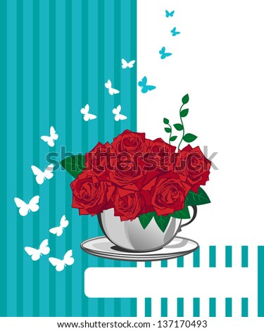 Red rose in a white cup. Happy birthday card design - stock photo