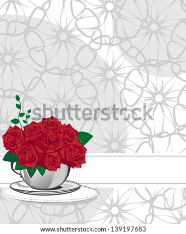 Red rose in a white cup. Wedding invitations or announcements - stock photo