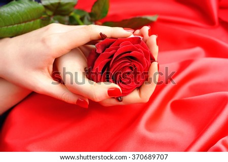 Red Rose in female hands on a background of red silk - stock photo