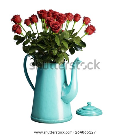 Red roses bouquet in turquoise coffee pot isolated on white background  - stock photo