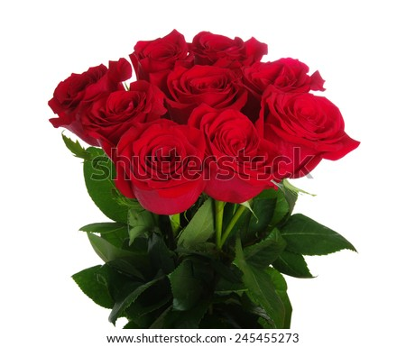Red roses bouquet on white background  - stock photo