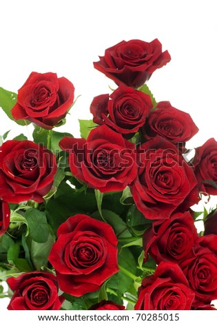 Red Roses bouquet over white - stock photo