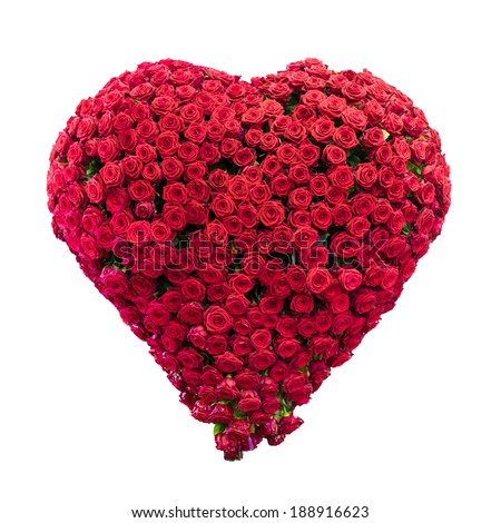 Red roses heart shape isolated on white background. - stock photo