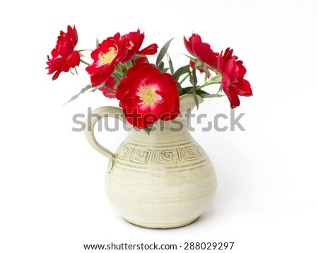 red roses on a white background - stock photo
