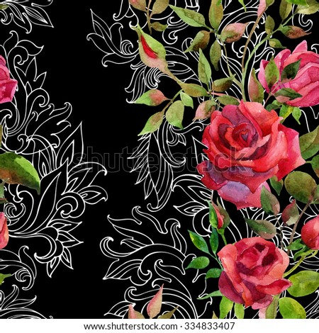 Red roses on baroque ornament. Watercolor flowers on indian paisley seamless pattern. Hand painted illustration  - stock photo