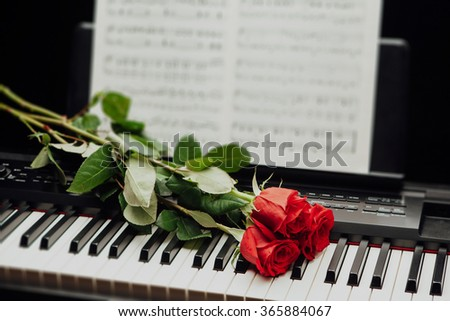 red roses on piano keys and music book - stock photo