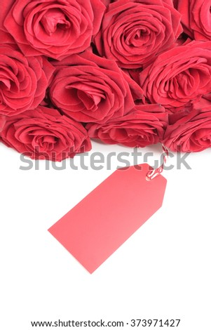 Red roses with blank tag isolated on white background - stock photo