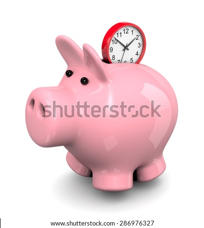 Red Round Clock Entering Pink Piggy Bank 3D Illustration on White Background, Save Time Concept - stock photo