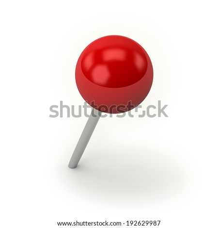 Red round pin on white background - stock photo