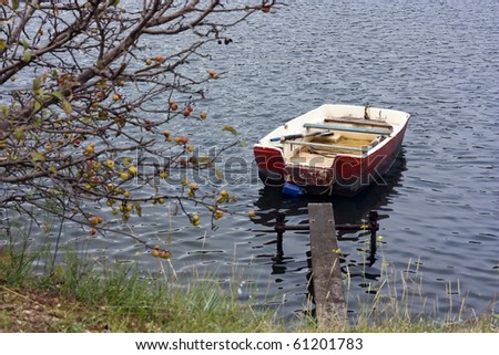Red rowboat on small boardwalk with tree with fruits - stock photo