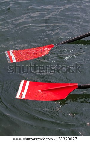 red rowing blades - stock photo