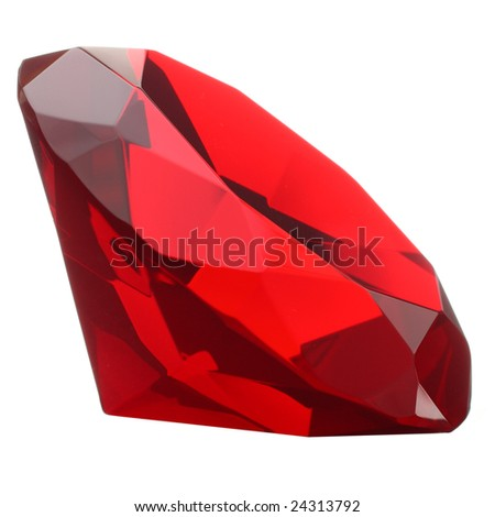 Red ruby isolated on white - stock photo