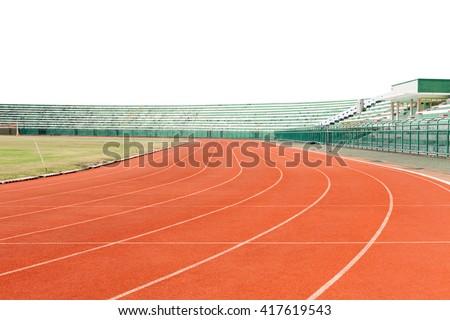 red running tracks in sport stadium white background - stock photo