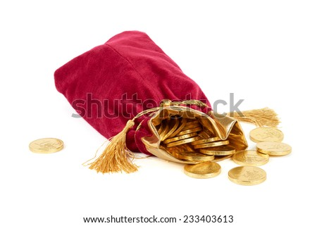 Red sack and golden euro over white - stock photo