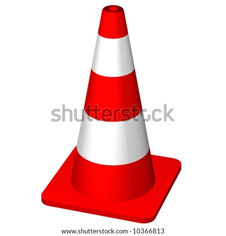 Red safety cone isolated on white - stock photo