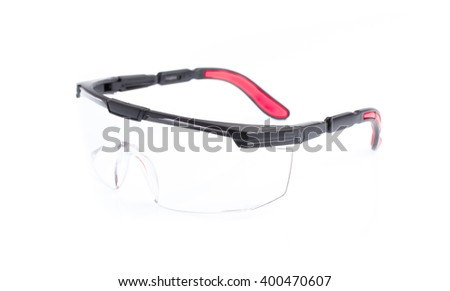 Red safety glasses isolated on the white background - stock photo