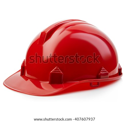 Red safety helmet close-up isolated on a white background. - stock photo