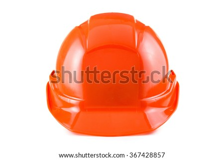 Red safety helmet, hard hat isolated  on white background - stock photo