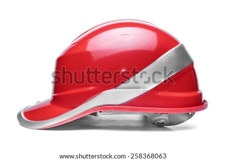 Red safety helmet on a white background - stock photo