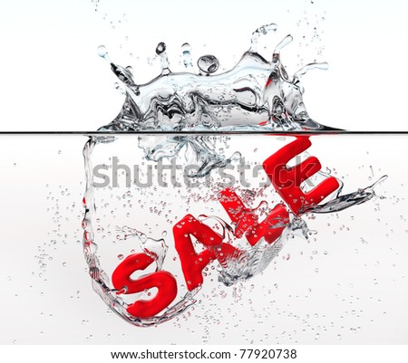 Red sale  dropped into water with splash - stock photo