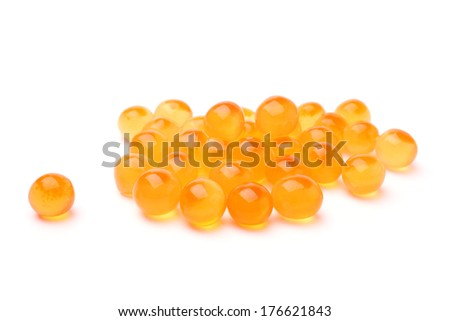 Red salted caviar on white background - stock photo