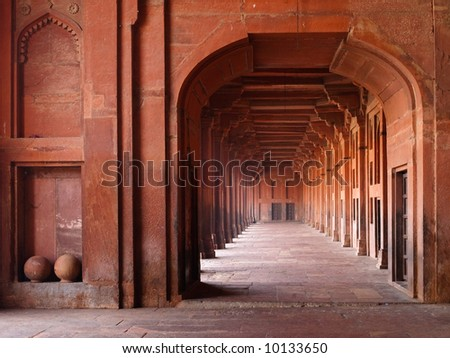 Red sandstone archways in Mosque, Fatehpur Sikri, India - stock photo