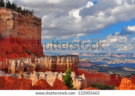 Red Sandstone Canyon cliffs at Bryce Canyon national park, Utah - stock photo