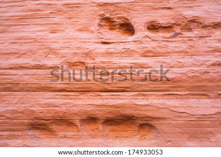 Red Sandstone Canyon Wall Background - stock photo