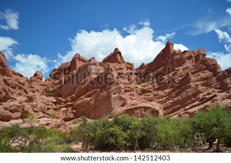 Red sandstone rocks and the blue sky - stock photo