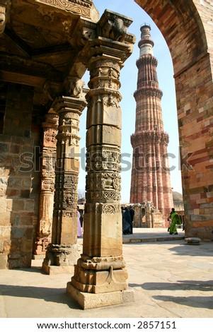 Red sandstone tower, Qutub Minar, in Delhi India. - stock photo