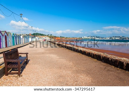 Red sandy beach at Preston Sands Paignton Torbay Devon England UK Europe - stock photo