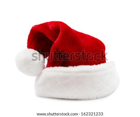 red Santa Claus hats isolated on white background - stock photo