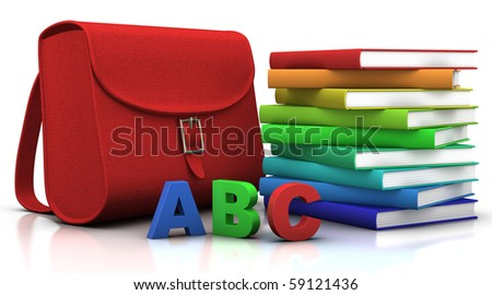 red satchel and stack of colorfull books - 3d illustration/rendering - stock photo