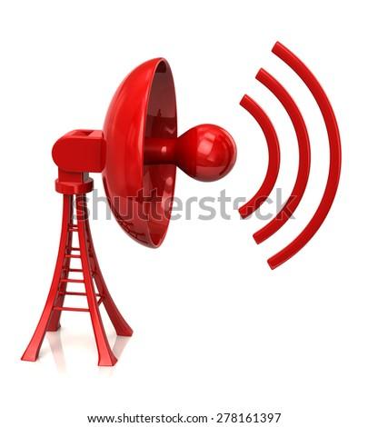 Red satellite dish antenna  - stock photo