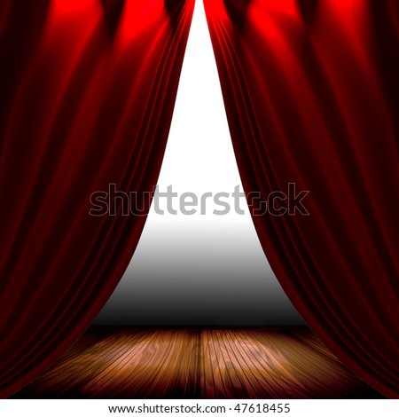 Red Satin Drapes On Stage - stock photo