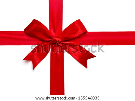 Red satin ribbon bow isolated on white background - stock photo