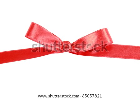 Red satin ribbon gift bow isolated on white background - stock photo
