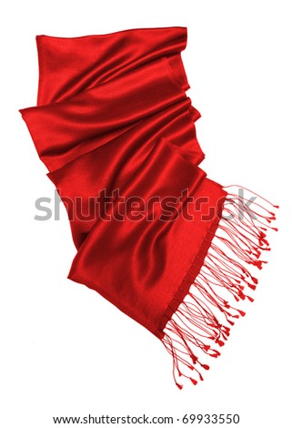red scarf isolated on white background - stock photo