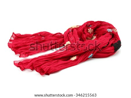 red scarf on a white background - stock photo