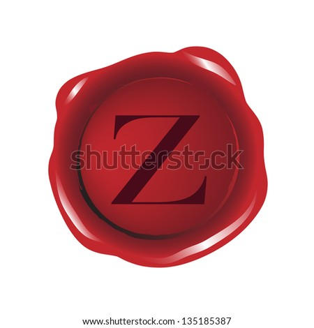 """Red seal wax with alphabet letter """"Z"""" - stock photo"""