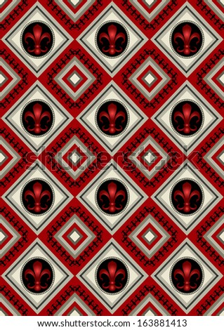 Red seamless rhomboid  background with heraldic lily  - stock photo