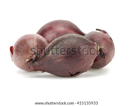 Red seed onions on a white background    - stock photo