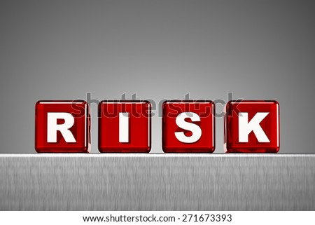 Red semi transparent dice spelling the word risk on metal surface with gradient background - stock photo